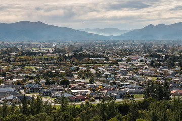 aerial view of Blenheim town in New Zealand