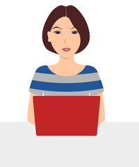 Young woman sitting at desk and using laptop computer. Vector