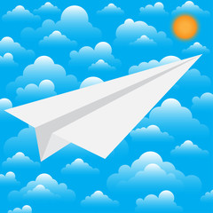 Paper white plane. The beginning of the way.