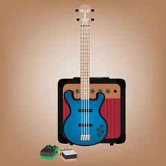 Иллюстрация бас-гитары, усилителя и педалей