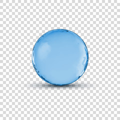Vector 3D crystal glass blue sphere ball isolated on transparent illustration