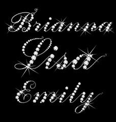 Woman names set,Lisa,Brianna,Emily bling bling diamonds text.