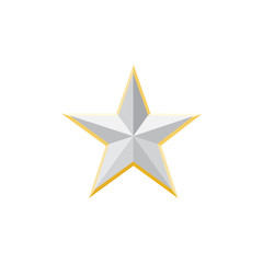 Silver Star, Clasic star Icon,  Silver  Star Long Shadow  vector illustration