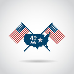 american independence day icon design , independence day map flag background, 4th july icon vector illustration.