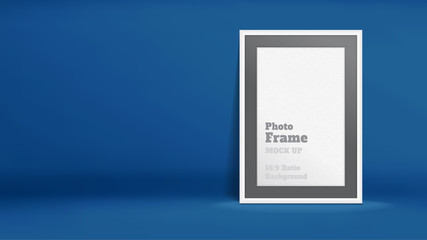 Vector, Blank Photo Frame in navy blue studio room, Template mock up for display or montage of your content,Business presentation backdrop, 16:9 ratio background