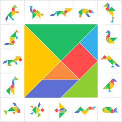 Tangram set. Printable solution cards for traditional Chinese puzzle, learning game for kids. Animals, birds and fish made of tiling geometric shapes: triangles, square, parallelogram. Vector