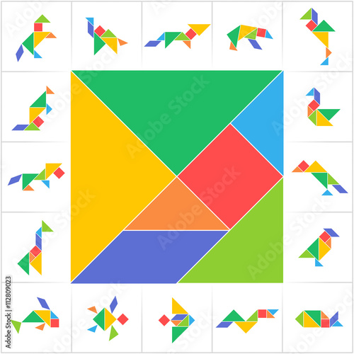 photo regarding Printable Tangrams Pdf Free titled Tangram fastened. Printable item playing cards for regular