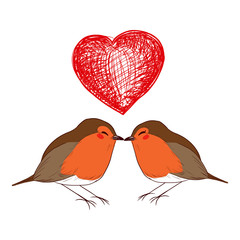Cute little male and female robin birds in love kissing under big red heart doodle