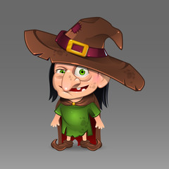 Illustration of cartoon witch with hat