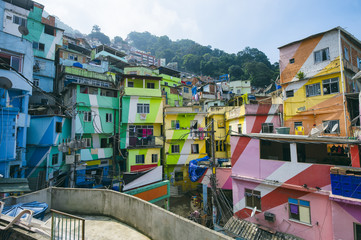Colorful painted buildings of the Favela Santa Marta Community in Rio de Janeiro Brazil
