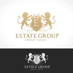 luxury logo template,boutique brand,real estate,property,royalty,crown logo,crest logo,hotel logo. Vector Logo Template.