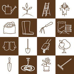 Set of Garden Tools, Brown Line Icons Gardening Equipment , Agricultural Tool , Vector Illustration