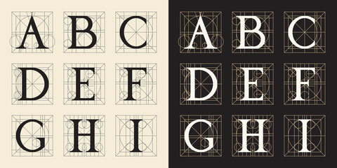 Designing Initials, vintage style. Letters A - I