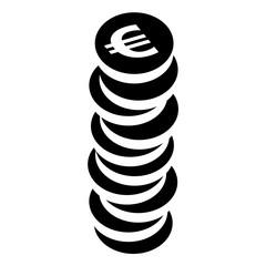 Icon: Stapel aus Euromünzen – schwarz-weiß, Vektor, freigestellt