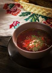 "Bowl with russian soup ""borsch""."