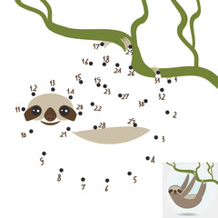 numbers game. dot game Three-toed sloth on green branch on white background. vector