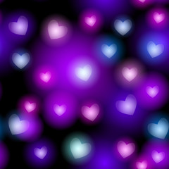 Abstract seamless pattern with neon hearts on black background. vector