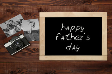 Fathers day composition on wooden desk backround.
