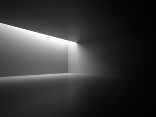 Empty Dark Room With Decorate Lights. Interior Background. 3d Render Illustration.