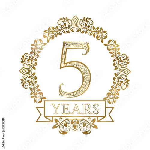 "5th Year Anniversary: ""Five Years Anniversary Celebration Golden Vintage"