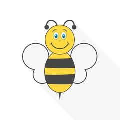 Funny cartoon bee with long shadow