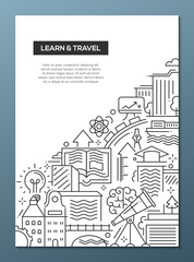 Learn and travel composition - line flat design banner