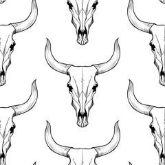 Bull skull on  white a  background vector seamless pattern