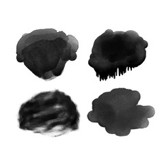 Vector trendy grunge handmade black watercolor stroke backgrounds painted by brush