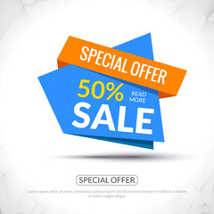 Super Big Sale paper origami banner. Sale background. Big sale tag. Sale poster. Huge Sale special offer 50 percents off. Vector illustration.