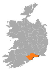 Map - Ireland, Waterford
