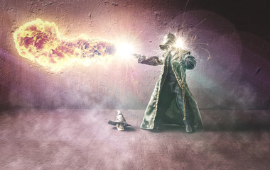 Wizard throwing a fireball