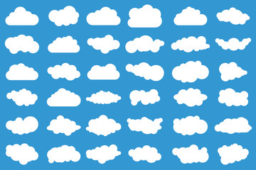 Cloud icons on blue background. 36 different vector clouds. Cloudscape. Isolated clouds.