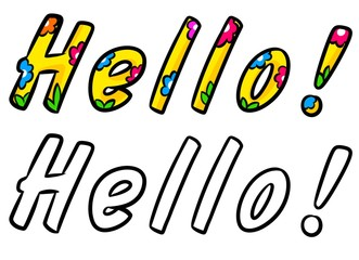 Hello bright text cartoon illustration