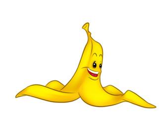 Peel Banana funny cartoon illustration isolated image character