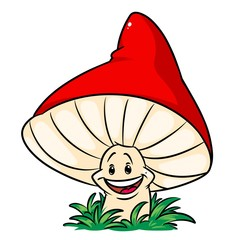 Red mushroom cartoon illustration isolated image character