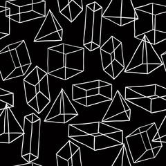Geometric shapeson black background. Vector seamless pattern