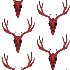 Red deer skull on white a  background vector seamless pattern