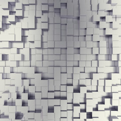 abstract white metallic cubes background. 3d illustration