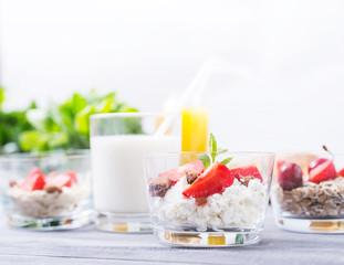 Milk Dessert with Strawberries