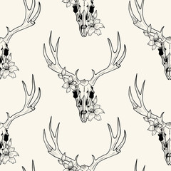 deer skull  and lily vector seamless pattern
