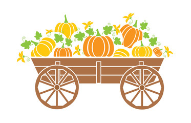 Old wagon with a pumpkin with a flowers.