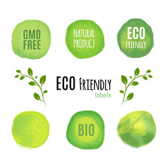 Eco friendly natural product watercolor labels. Organic fresh food product concept