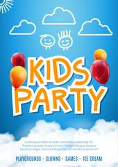 Kids party invitation design poster template. Kids fun celebration flyer