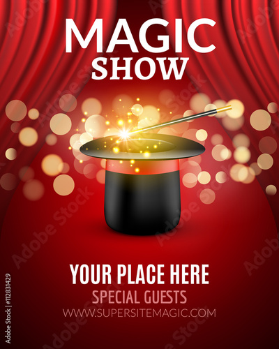 magic show poster design template magic show flyer design with magic hat and curtains