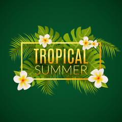 Tropical summer design poster template. Summer vacation with leafs and flowers. Jungle paradise