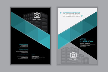 Abstract blue and black for cover book template, vector