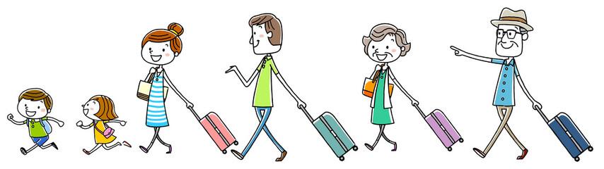 イラスト素材:家族 旅行 三世代