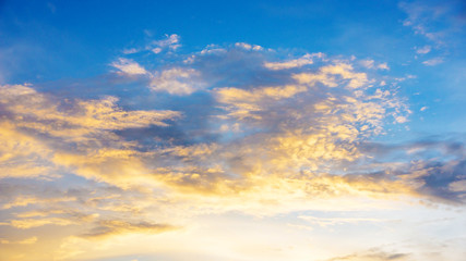 Beautiful golden sky during sunset.