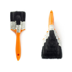 Set of Pile of Paint brushes over isolated white background