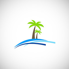 palm tree beach vector logo